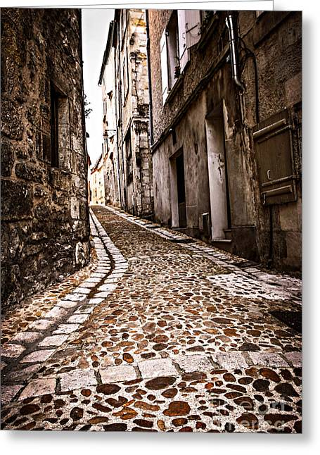 Cobblestone Greeting Cards - Medieval street in France Greeting Card by Elena Elisseeva