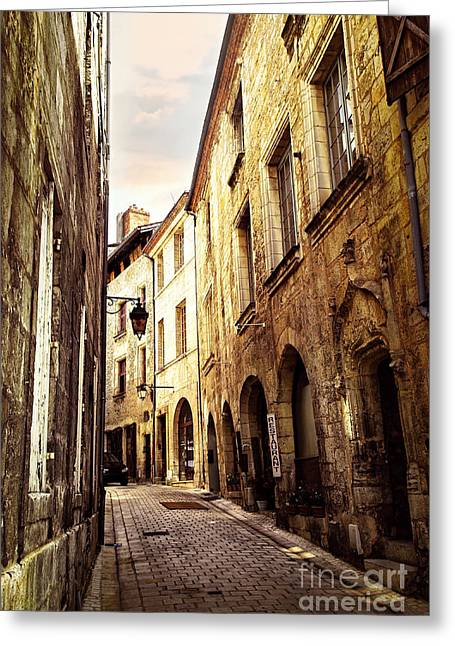 Dordogne Greeting Cards - Medieval street in Perigueux Greeting Card by Elena Elisseeva
