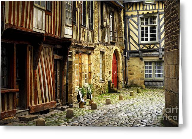 Half-timbered Greeting Cards - Medieval street in Rennes Greeting Card by Elena Elisseeva
