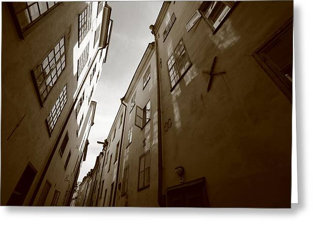 Buildings And Narrow Lanes Greeting Cards - Medieval street seen from below - monochrome Greeting Card by Intensivelight