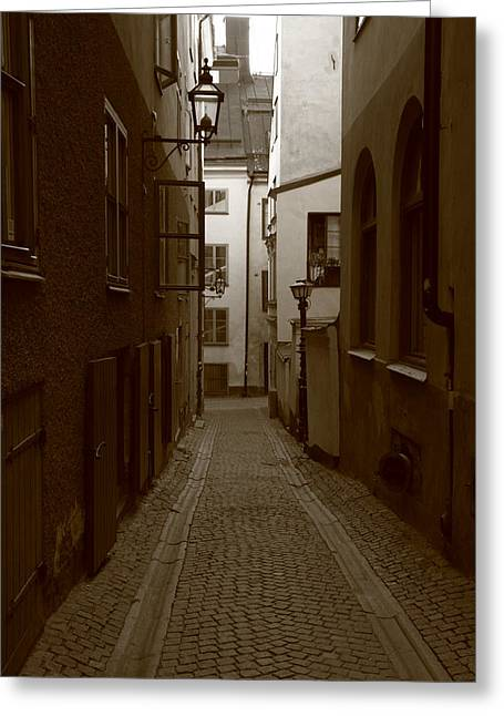 Buildings And Narrow Lanes Greeting Cards - Medieval street with lantern - monochrome Greeting Card by Intensivelight