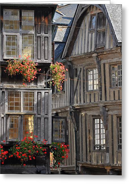 Overhang Greeting Cards - Medieval timber-framed buildings in Dinan Greeting Card by David ELLIOTT