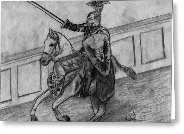 Camelot Drawings Greeting Cards - Medieval Times Greeting Card by Rodger Larson