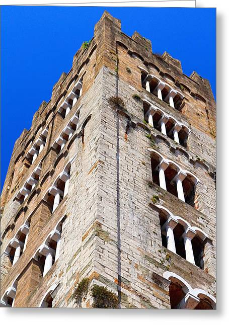 Town Square Greeting Cards - Medieval Tower Greeting Card by Valentino Visentini