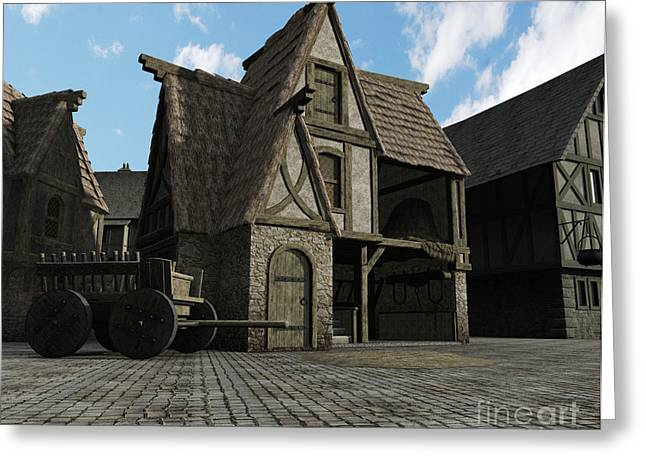 Old Roadway Greeting Cards - Medieval Town Barn Greeting Card by Fairy Fantasies