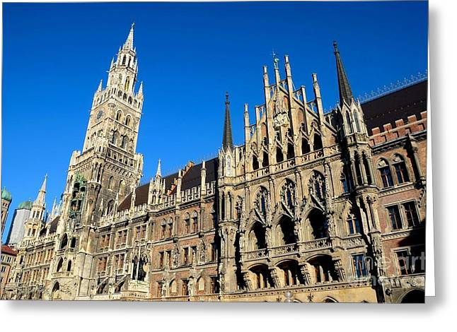 Marienplatz Greeting Cards - Medieval Town Hall building Munich Germany Greeting Card by Imran Ahmed