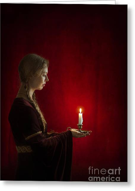 Side Braid Greeting Cards - Medieval Tudor Woman Holding A Candle In Profile Greeting Card by Lee Avison