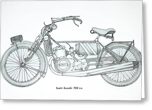 Brakes Drawings Greeting Cards - Medieval Two stroke Greeting Card by Stephen Brooks