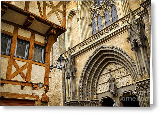 Half-timbered Greeting Cards - Medieval Vannes France Greeting Card by Elena Elisseeva