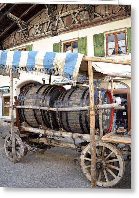 Wine Cart Greeting Cards - Medieval wagon used for transporting wine Greeting Card by Elzbieta Fazel