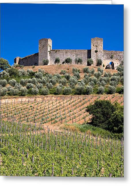 Chianti Vines Greeting Cards - Medieval Walled Village Of Monteriggioni Chianti Tuscany Italy Greeting Card by Mathew Lodge