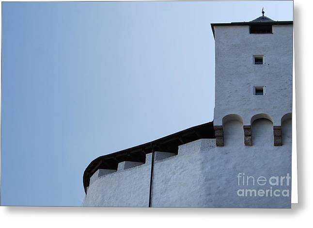 Medieval Walls with Tower in Salzburg Austria Greeting Card by Sabine Jacobs