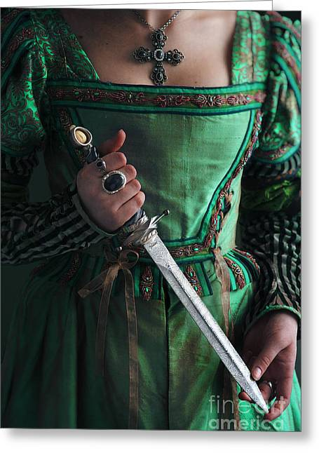 Puffed Sleeves Greeting Cards - Medieval Woman Holding A Dagger Greeting Card by Lee Avison