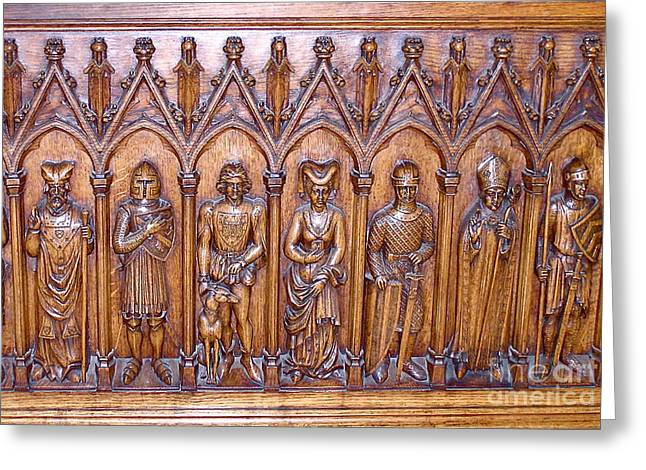 Valuable Photographs Greeting Cards - Medieval Wood Carving 1 Greeting Card by France  Art