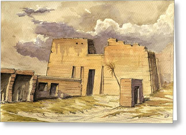 Luxor Greeting Cards - Medinet temple Egypt Greeting Card by Juan  Bosco