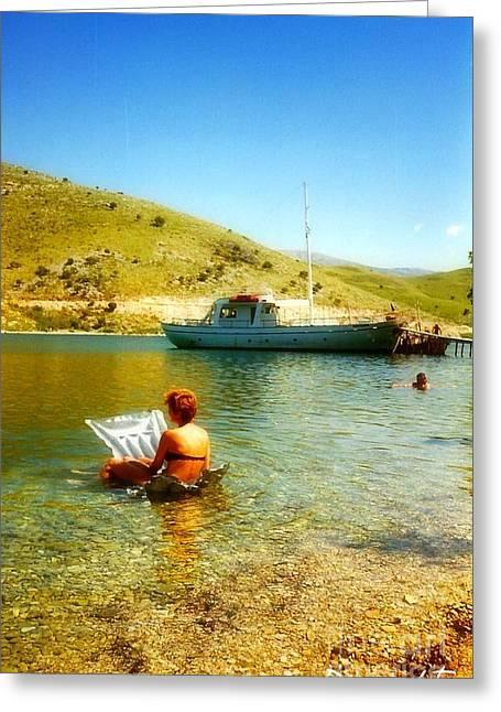 Sunbathing Digital Greeting Cards - Meditarainen  Greeting Card by Janette  Degrasse