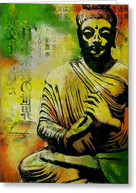 South East Asian Greeting Cards - Meditating Buddha Greeting Card by Corporate Art Task Force