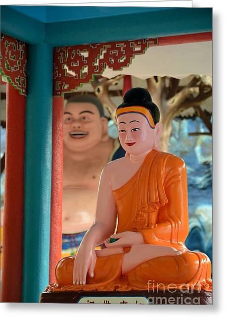 Meditating Buddha In Lotus Position Greeting Card by Imran Ahmed