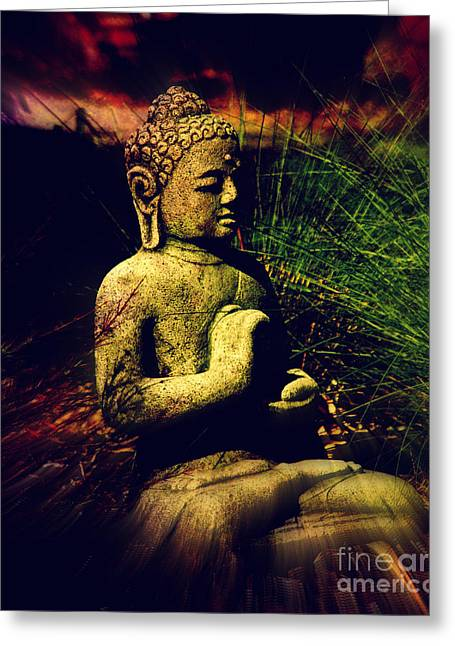 Figurative Sculpture Greeting Cards - Meditating Buddha Greeting Card by Susanne Van Hulst