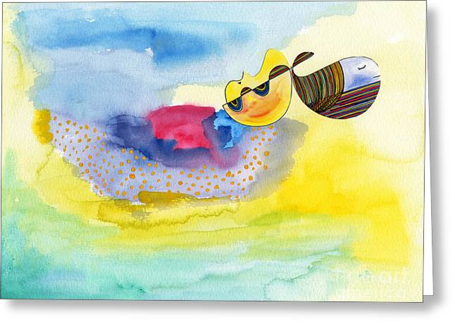 Humpback Whale Paintings Greeting Cards - Meditating Humpback Whale in ocean Greeting Card by Mukta Gupta