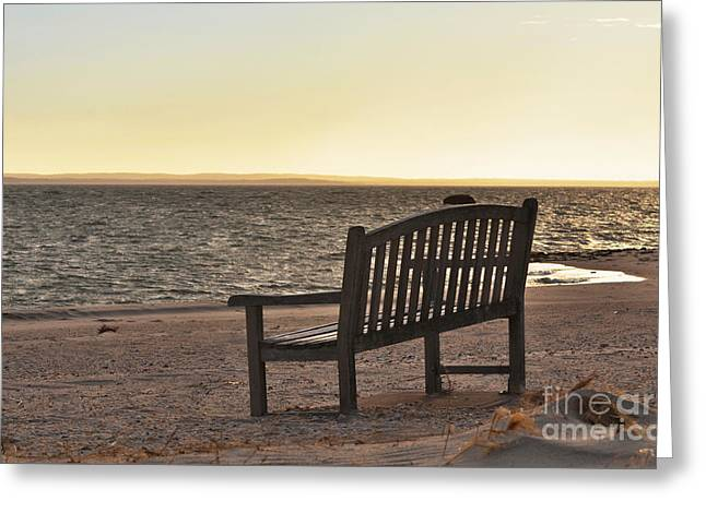 North Fork Mixed Media Greeting Cards - Meditation Bench on The Beach at Sunset Greeting Card by Anahi DeCanio - ArtyZen Studios