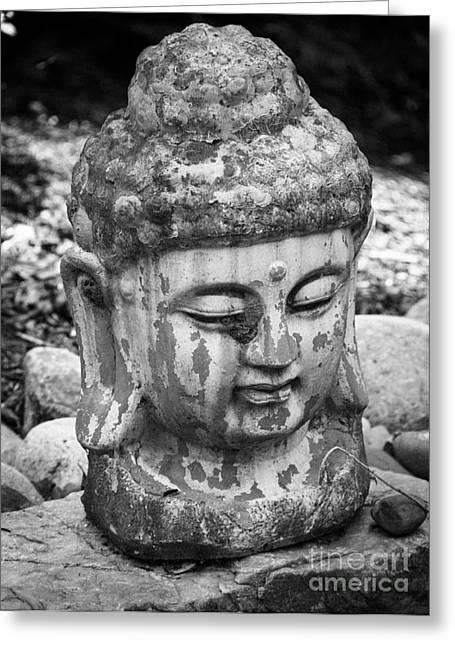 Garden Statuary Greeting Cards - Meditation BW Greeting Card by Teresa Mucha