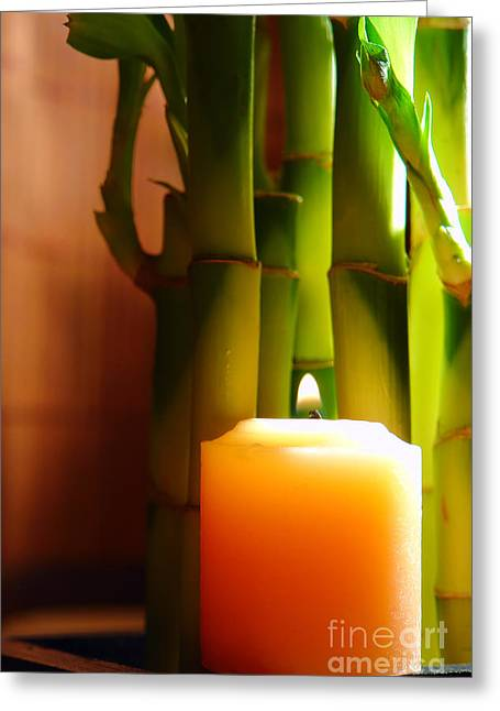 Burning Greeting Cards - Meditation Candle and Bamboo Greeting Card by Olivier Le Queinec
