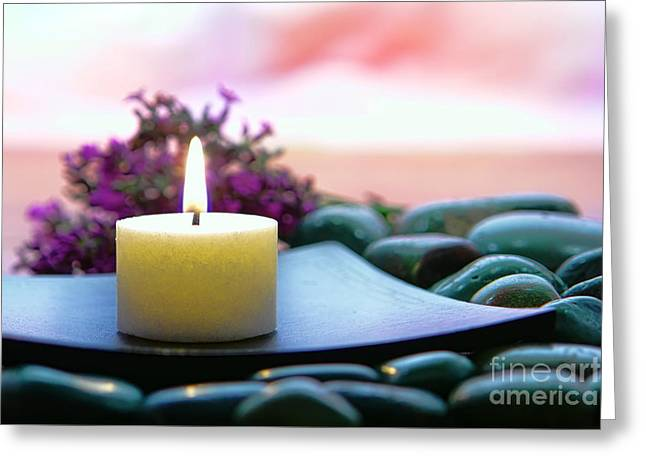 Burning Greeting Cards - Meditation Candle Greeting Card by Olivier Le Queinec