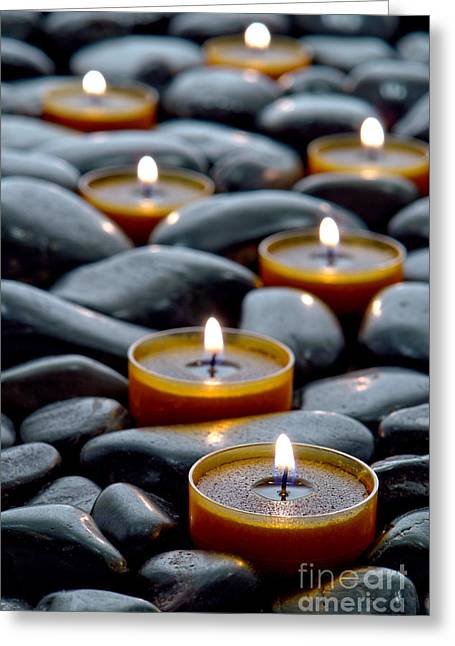 Glow Photographs Greeting Cards - Meditation Candles Greeting Card by Olivier Le Queinec