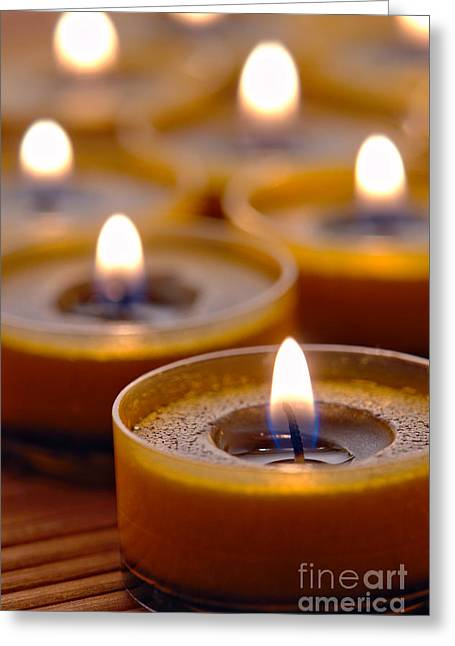 Soft Greeting Cards - Meditation Candles Path Greeting Card by Olivier Le Queinec