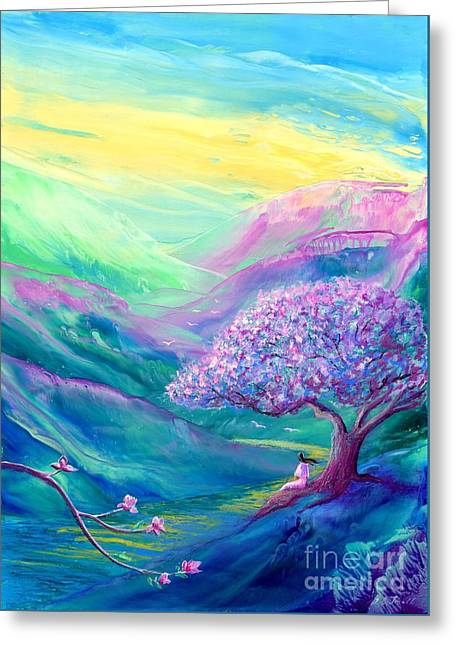 Magical Tree Greeting Cards - Meditation in Mauve Greeting Card by Jane Small