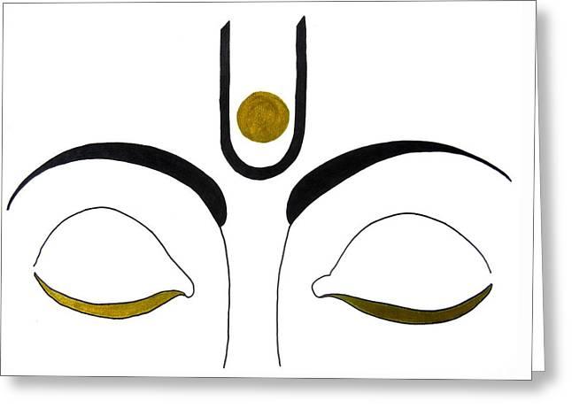 Gestures Mixed Media Greeting Cards - Meditation Greeting Card by Kruti Shah