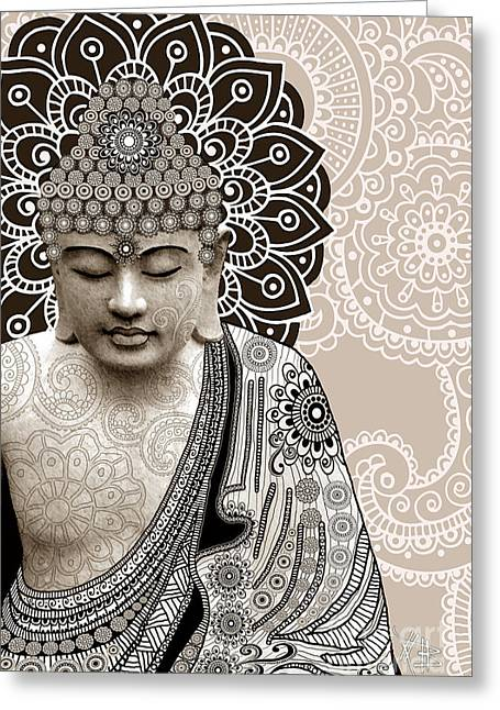 Buddhism Greeting Cards - Meditation Mehndi - Paisley Buddha Artwork - copyrighted Greeting Card by Christopher Beikmann