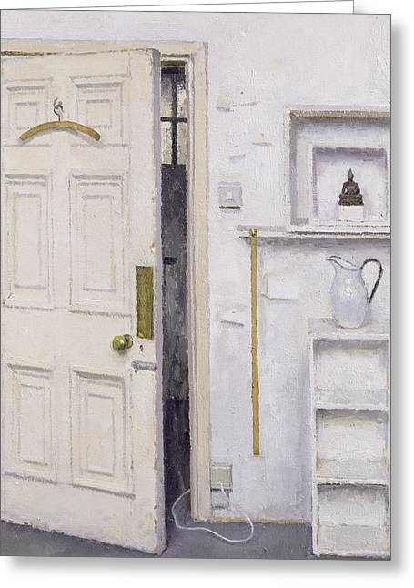 Ewer Paintings Greeting Cards - Meditation on a Door I Greeting Card by Charles E Hardaker