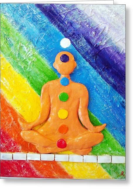 Original Sculptures Greeting Cards - Meditation Greeting Card by Raya Finkelson