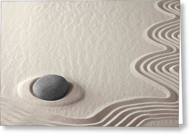 Sand Pattern Greeting Cards - Meditation Stone Zen Rock Garden Greeting Card by Dirk Ercken