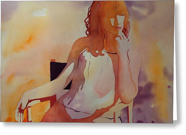 Abstract Woman In Color Greeting Cards - Meditation Greeting Card by Terry Holliday