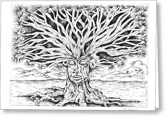 Tree Roots Drawings Greeting Cards - Meditation Tree Greeting Card by Karen Sirard