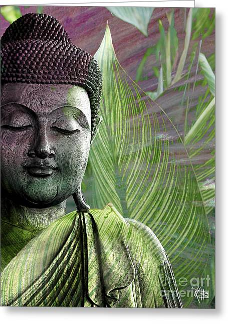 Purple Mixed Media Greeting Cards - Meditation Vegetation Greeting Card by Christopher Beikmann