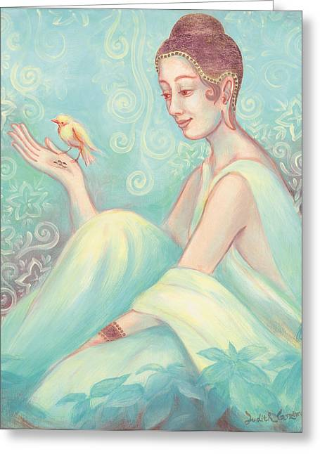 Observer Greeting Cards - Meditation With Bird Greeting Card by Judith Grzimek