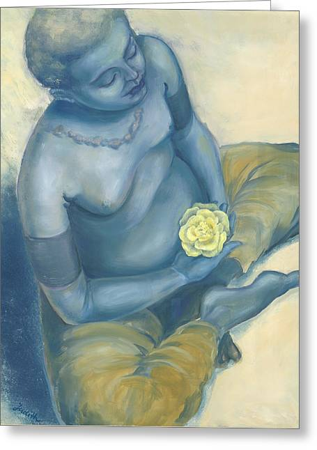 Spiritual Portrait Of Woman Paintings Greeting Cards - Meditation With Flower Greeting Card by Judith Grzimek