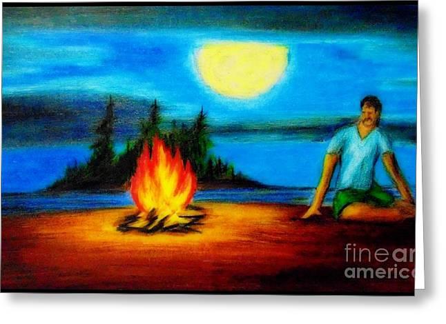Beach At Night Greeting Cards - Meditative Greeting Card by John Malone
