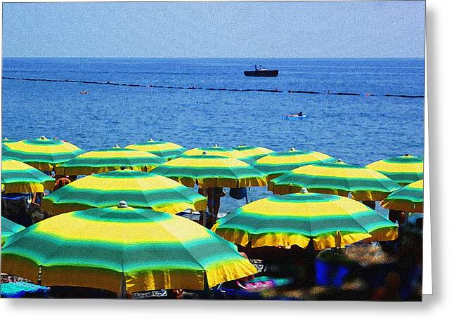 Italian Mediterranean Art Greeting Cards - Mediterranean Beach At Amalfi Coast Italy  Greeting Card by Irina Sztukowski