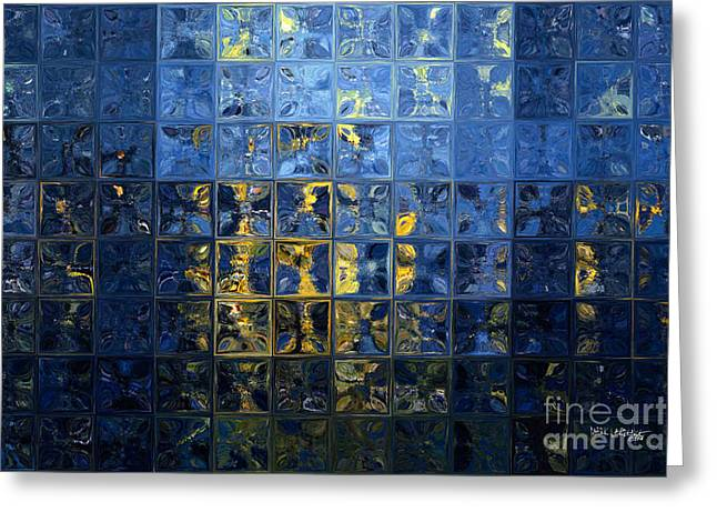 Mediterranean Series Greeting Cards - Mediterranean Blue. Modern Mosaic Tile Art Painting Greeting Card by Mark Lawrence