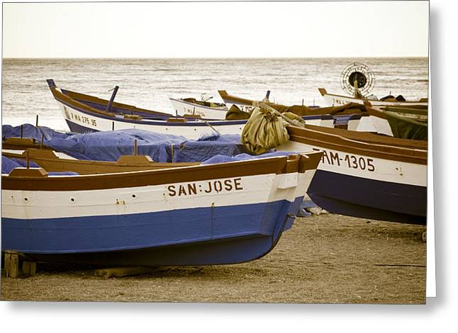 Beachscape Greeting Cards - Mediterranean Boats Greeting Card by Frank Tschakert