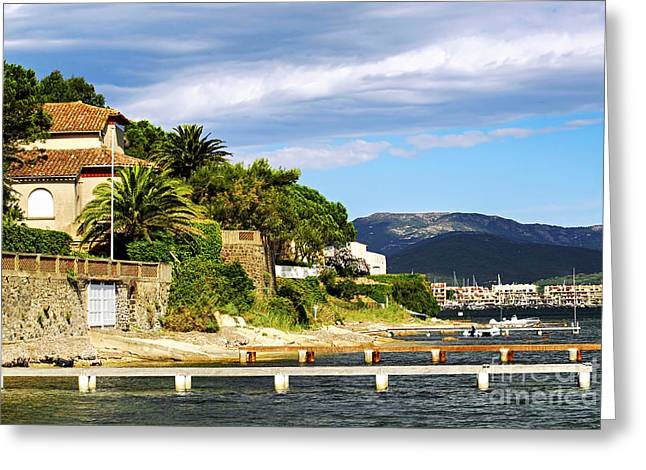 Azur Greeting Cards - Mediterranean coast of French Riviera Greeting Card by Elena Elisseeva