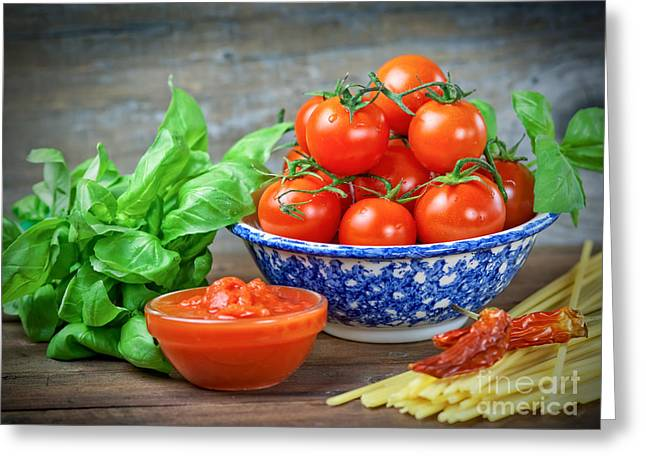 Spaghetti Greeting Cards - Mediterranean diet Greeting Card by Marzia Giacobbe