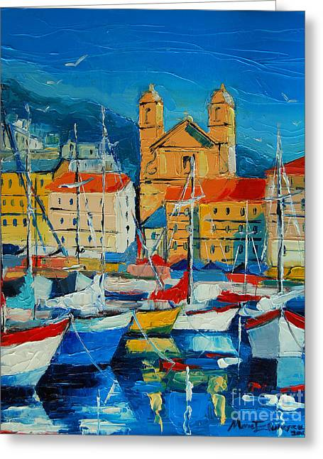 Mediterranean Harbor Greeting Card by Mona Edulesco
