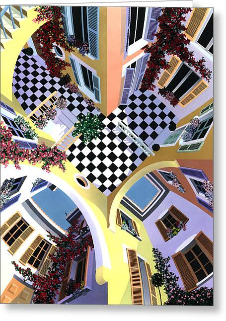 Checkerboard Greeting Cards - Mediterranean Illusion Greeting Card by David Holmes
