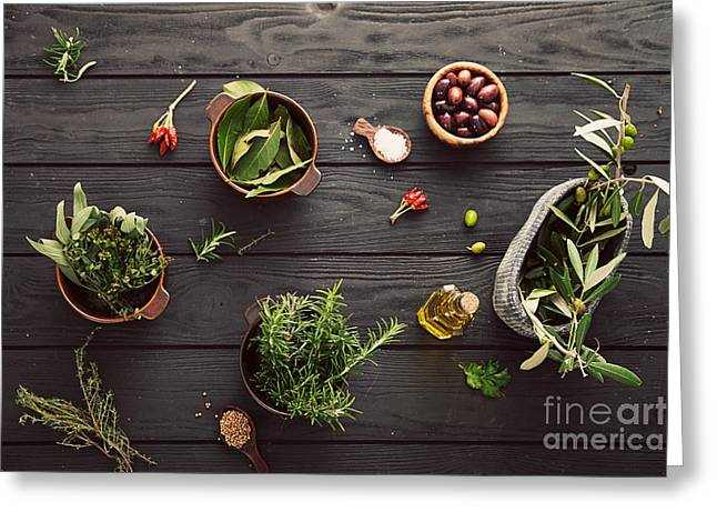 Olive Oil Greeting Cards - Mediterranean ingredients Greeting Card by Mythja  Photography